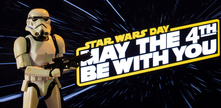 NEW YORK USA, APRIL 26 2020: Star Wars Day concept - May the Fourth Be With You with a Stormtrooper - Hasbro action figure