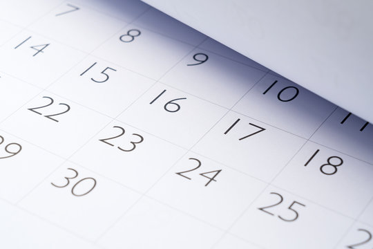 Close-up photo of the calendar