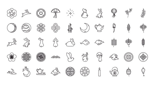 Mid autumn harvest moon festival line style 50 icon set vector design