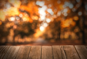 Empty wooden table in beautiful autumn park