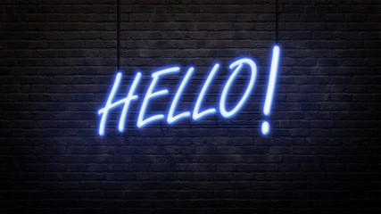 hello neon sign emblem in neon style on brick wall background