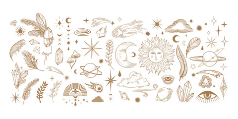 big hand drawn set of celestial bodies and mystic magical elements in vintage boho style