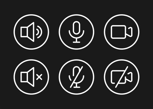 Speaker, Mic and Video Camera related white icons. Basic icons for Video Conference, Webinar and Video chat on black background.