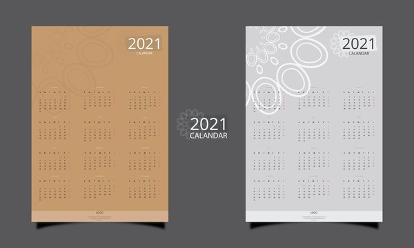 Simple vector template of 2021 new year calendar Colorful printable and editable design of calendar.