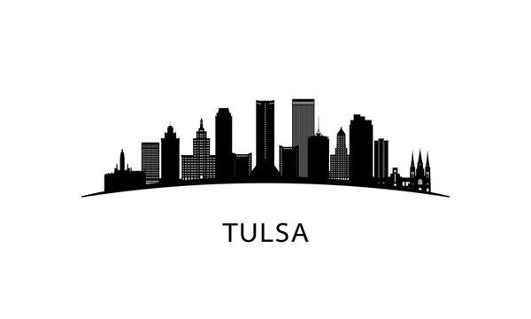Tulsa city Oklahoma skyline. Black cityscape isolated on white background. Vector banner.