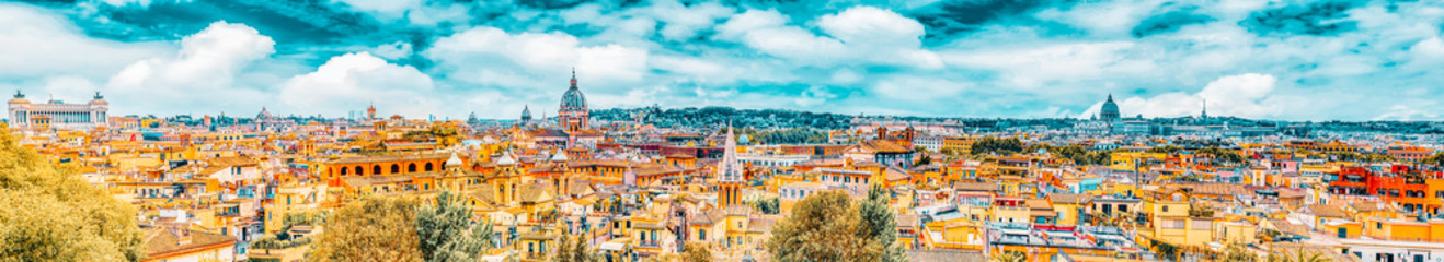 View of the city of Rome from above, from the hill of Terrazza del Pincio. Italy.