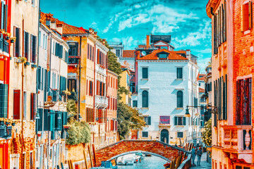 Printed kitchen splashbacks Gondolas VENICE, ITALY - MAY 12, 2017 : Views of the most beautiful channels of Venice, narrow streets, houses.