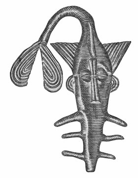 Stylized sawfish which is a reproduction of the bronze figurine which was formerly used to weigh the gold powder among Akan people. Portrait from Niger 1000 Francs 2019  Banknotes....