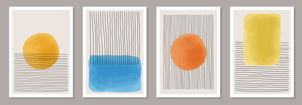 Set of minimalist 20s geometric design poster, primitive shapes