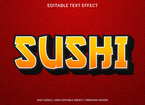 shusi text effect template with asian type style and bold font concept use for brand label and logo