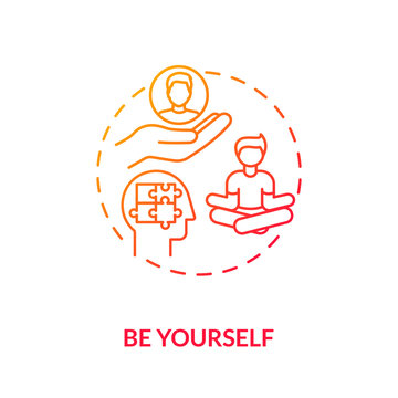Be yourself red gradient concept icon. Psychological wellbeing. Mindful individual. Student mental health. Self acceptance idea thin line illustration. Vector isolated outline RGB color drawing
