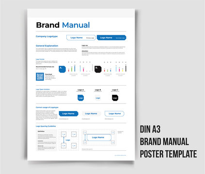 Din A3 Brand Manual Poster Template Brand Identity Guideline Brand Manual Minimal and Professional branding guidelines Brand Guideline Identity Design Guideline Design corporate identity