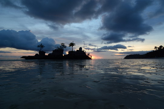 Afterglow at Willy Rock. White Beach. Boracay. Western Visayas. Philippines
