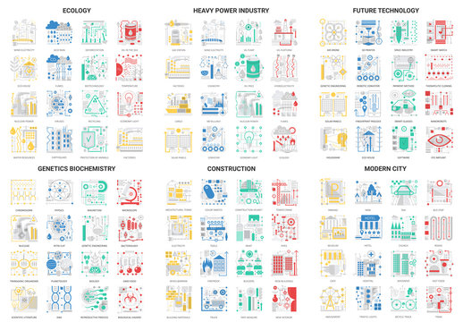 Flat thin line abstract icons, vector illustration modern design set with future eco technology in genetics biochemistry or heavy power industry, building city construction and ecology tech collection