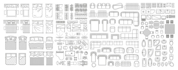 Set of linear icons. Interior top view. Furniture and elements for living room, bedroom, bathroom. Floor plan (view from above). Furniture store.