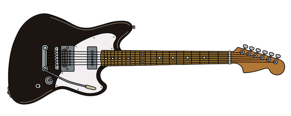 The vectorized hand drawing of a classic black electric guitar