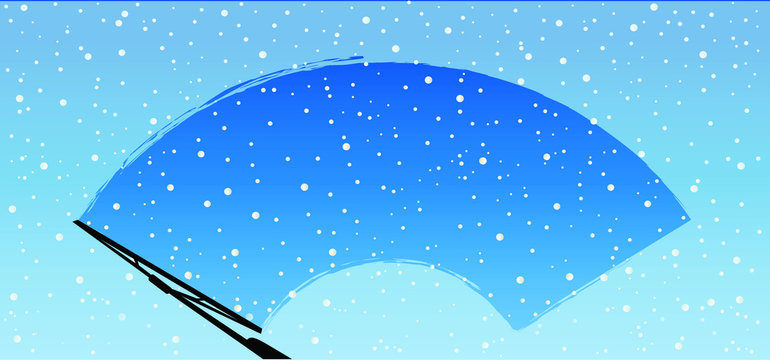 Car wiper clean the glass. Rain and snow on background. Wipers cleans the windshield. Fun vector sign.