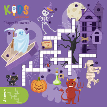 "Easy crossword puzzle ""Happy Halloween"", for children in elementary and middle school. Fun way to practice language comprehension and expand vocabulary. Includes answers."