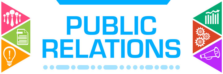 Public Relations Colorful Triangles Both Sides Business Symbols