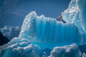 Beautiful blue icebergs calved from glaciers in Alaska, USA.