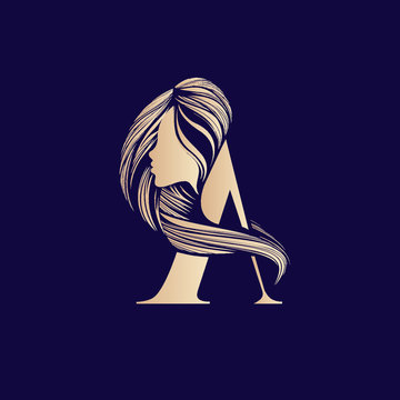 Letter A and woman portrait silhouette.Decorative lettering logo.Beauty, hairstyle, cosmetics and spa icon.Uppercase alphabet initial isolated on dark background.Long, wavy hair.Golden color.