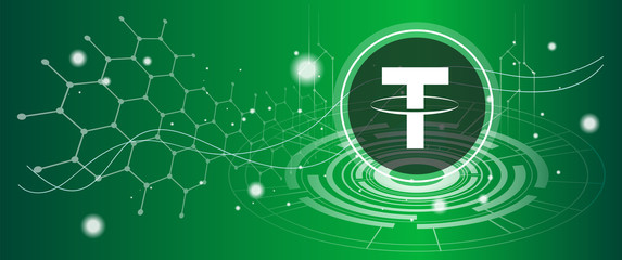 Tether coin symbol with crypto currency themed background design. Modern neon color banner for Tether or USDT icon. Cryptocurrency Blockchain technology, digital FIAT & trade exchange concept.