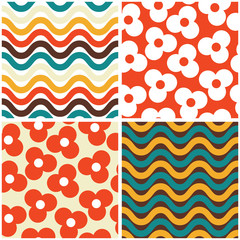 Fototapeta Vector seamless mid-century modern pattern set- 60s and 70s style, geometric retro design with flowers and waves obraz