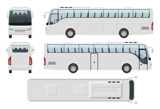 Coach bus vector template with simple colors without gradients and effects. View from side, front, back, and top