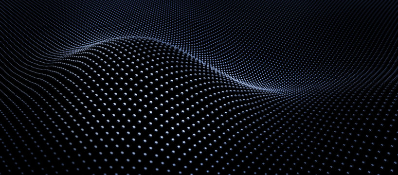 Abstract black particle array wave background - 3D illustration