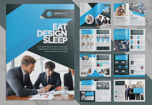 Blue Corporate Bifold Brochure Layout