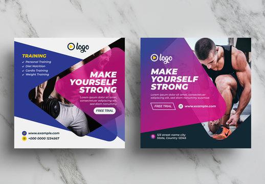 Body Fitness Social Media Marketing Banner Pack