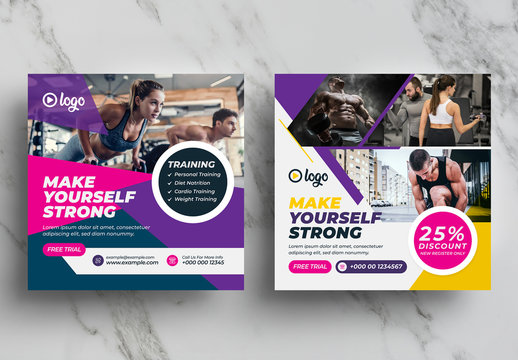 Creatove Fitness and Gym Social Media Post Pack