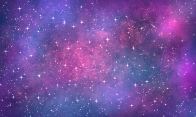 cosmic purple pink blue background with clouds and stars, many sparks and glitter. Grunge abstract bright background
