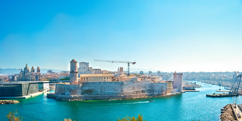 Foto auf Acrylglas Blau The Fort St Jean, Marseille