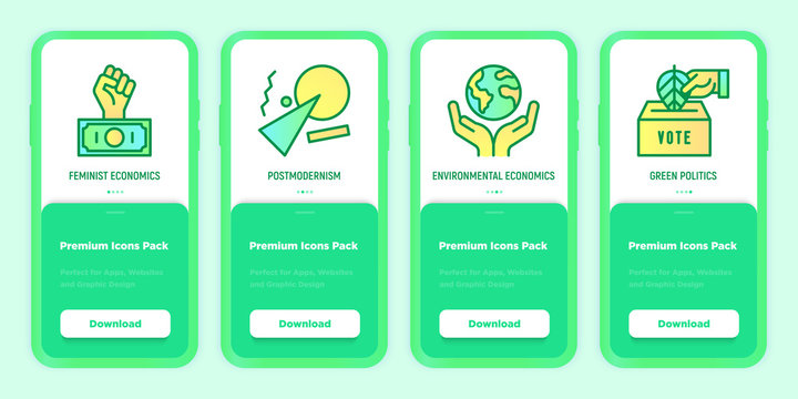 Green economy mobile user interface with thin line icons set: feminist economics, postmodernism, green politics. Vector illustration for environmental issues, template with copy space.