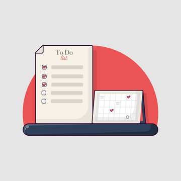 Flat vector productivity concept illustration. To do list and calendar. Time planning icon.