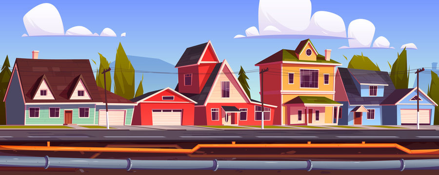 Suburb houses and underground pipeline. Sewer and plumbing system under city street. Vector cartoon illustration of landscape with suburban cottages, pipes with water and drainage