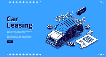 Car leasing isometric landing page, automobile lease or hire service. Vehicles rent, exhibition transport with scatter coins and payment contract docs, rental agency business, 3d line art web banner