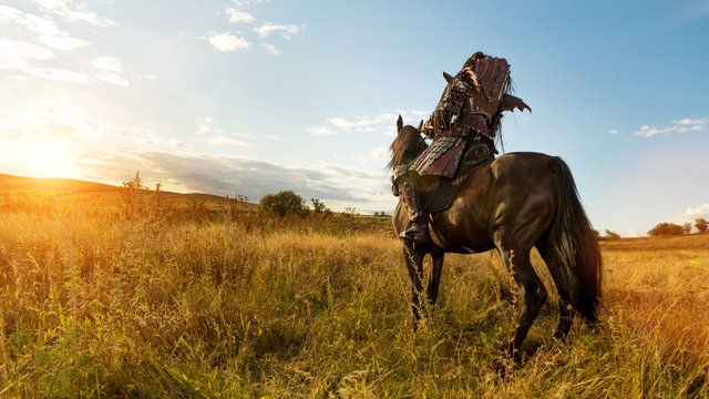 Girl in medieval knight's armor is riding a horse against the sunset fields background