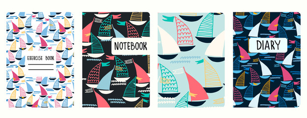 Set of cover page vector templates based on seamless patterns with sailing boats. Perfect for kids exercise books, notebooks, diaries, presentations