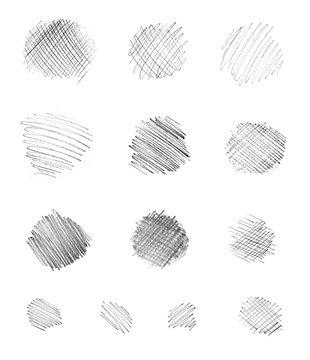 Hand-drawn circular pencil strokes in monochrome style.