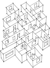hand drawn architectural sketch of abstract apartment or floor with doors and windows and lonely people