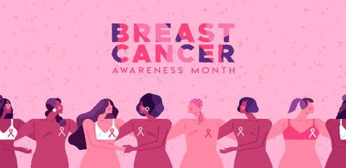 Breast cancer month pink ribbon women together