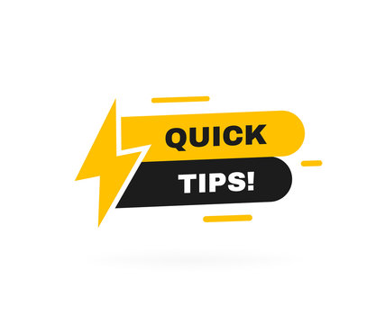 Quick tips badge with lightning bolt. Banner template design for business, marketing and advertising. Modern vector illustration