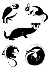 Original black on white art animal silhouettes collection for design