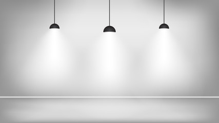 Black lamps in white studio near the wall. Vector illustration