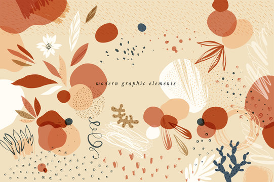 Create your own design with these graphic items. Trendy geometric forms, textures, strokes, abstract and floral decor elements.