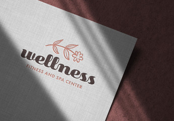 Debossed Logo Mockup on Linen Paper
