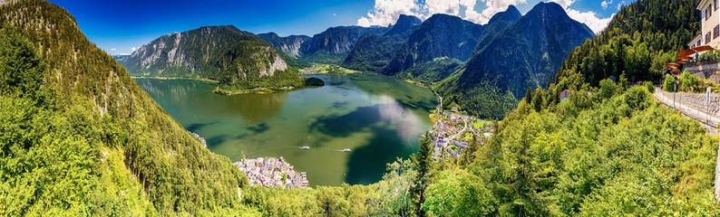 Hallstätter See mit Hallstatt und Dachstein, Salzkammergut, Oberösterreich, Österreich