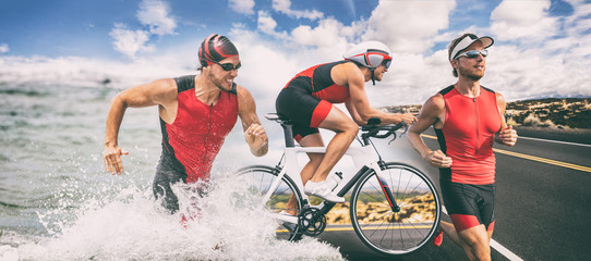 Triathlon swim bike run triathlete man running biking swimming in ocean at ironman race banner panorama. Three pictures composite of professional fitness athlete.